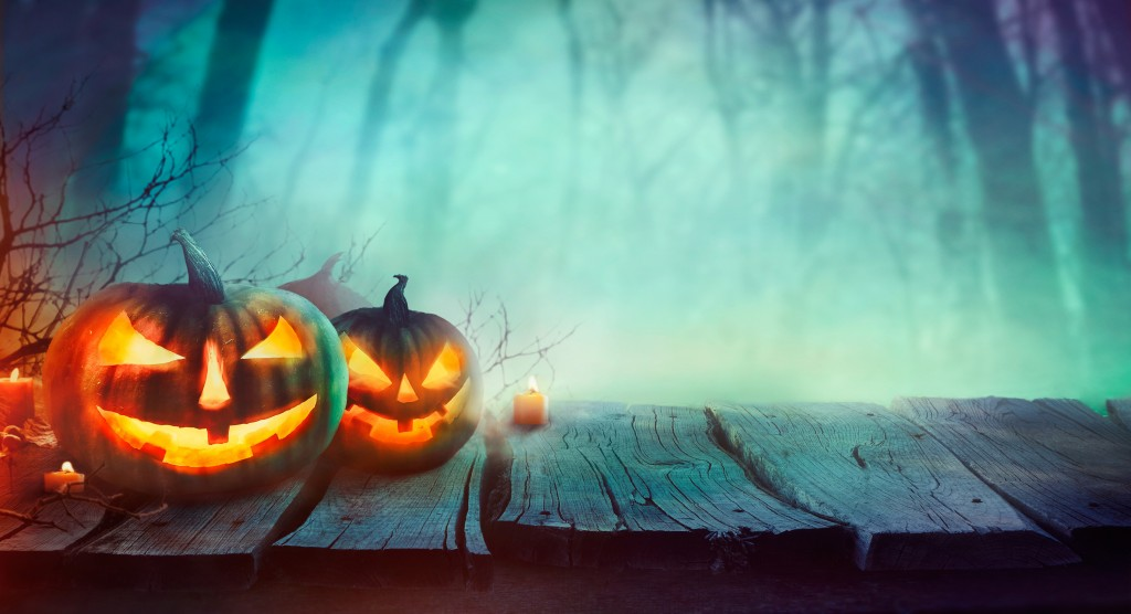 Stock Photo - Halloween design with pumpkins