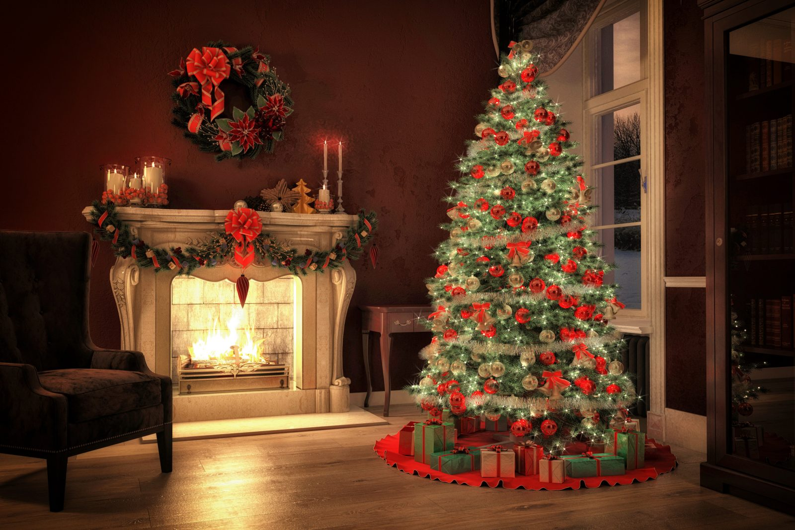 Christmas tree in a room with fireplace, 3d rendering, © Can Stock Photo / 2mmedia